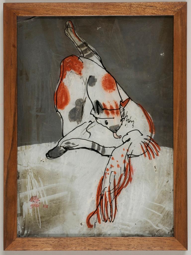 Paul Klee: Brocard-Katze sich leckend, 1905 (Hinterglasmalerei)