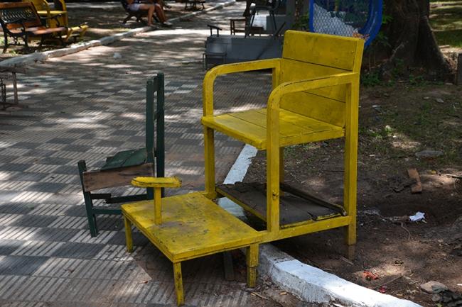 Verlassener Schuhputzstand auf der Plaza Uruguaya