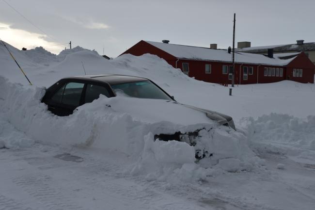 Schneemassen in Vardø.