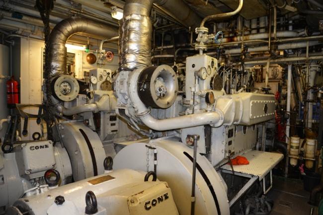 Maschinenraum der MS Lofoten.